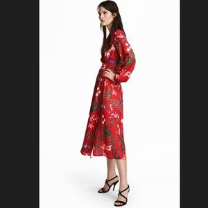 Long Sleeve Red Floral Wrap Maxi Dress Size 8
